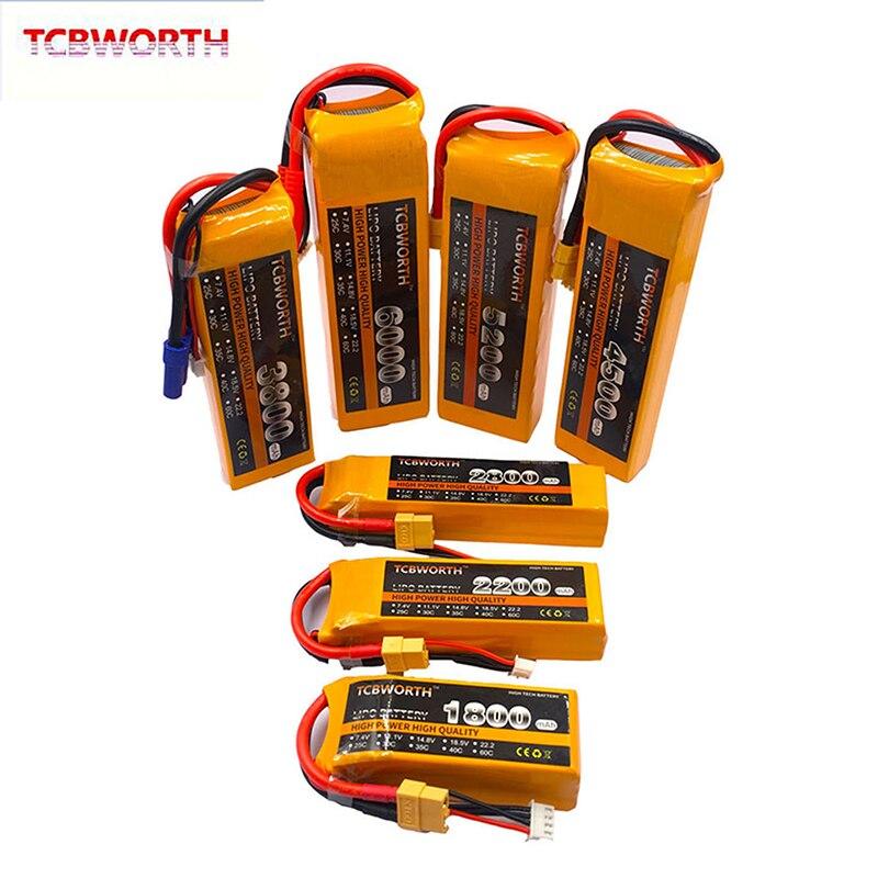 2 unids/pack 3S juguete RC LiPo batería 11,1 V 1100, 1800, 2600, 3500, 4500, 5200, 6000mAh 30/40/60C para Dron aeroplano RC helicóptero, coche y barco