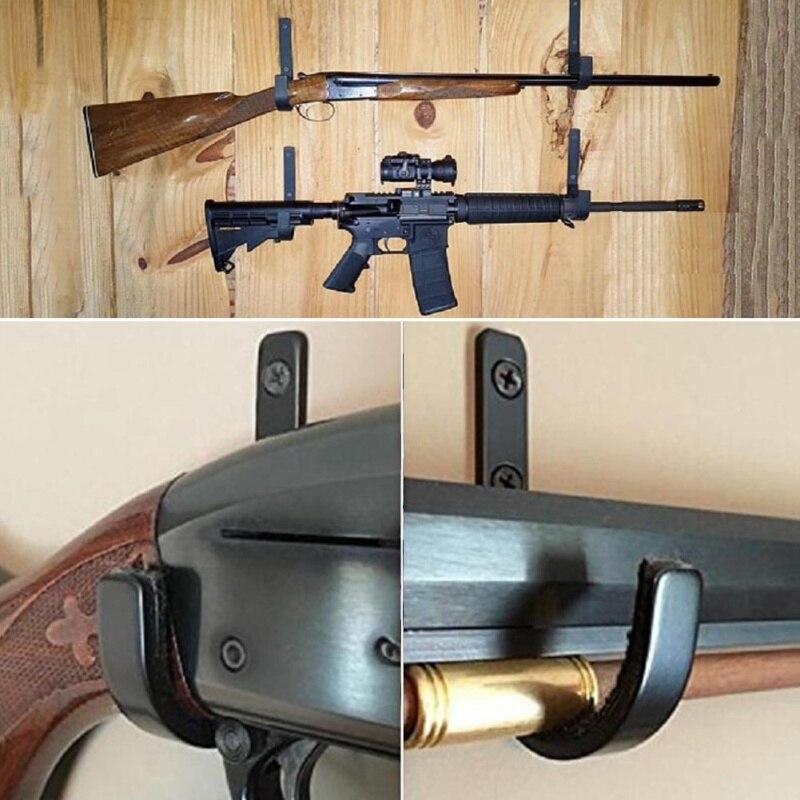 1 par Arma de Montagem Na Parede Rack de Armazenamento J-Hook Shot gun Rifle arma de aço Inoxidável Cabides Anti-Risco rack de disco