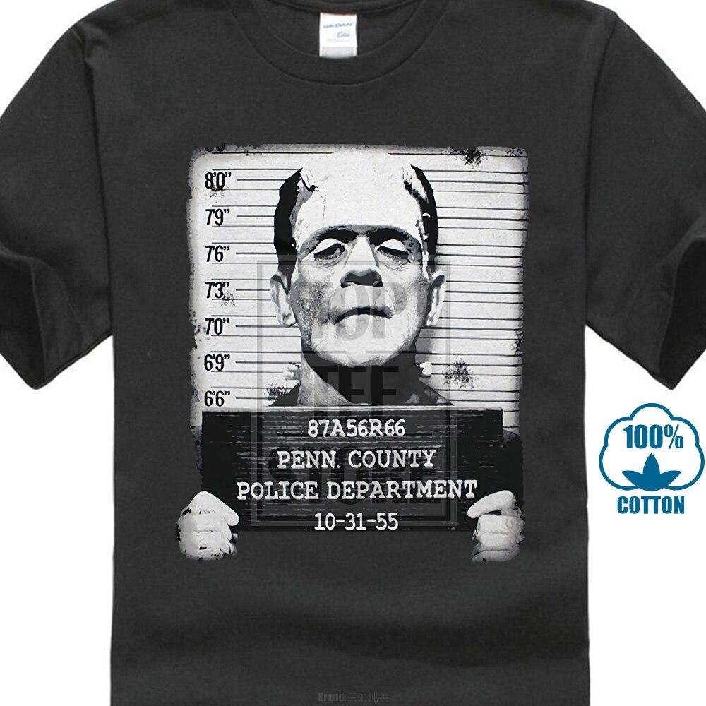 Leqemao Pins & Bones Frankenstein taza con cara Shot Retro negro camiseta de verano de manga corta de algodón de moda hombres camisetas impresas