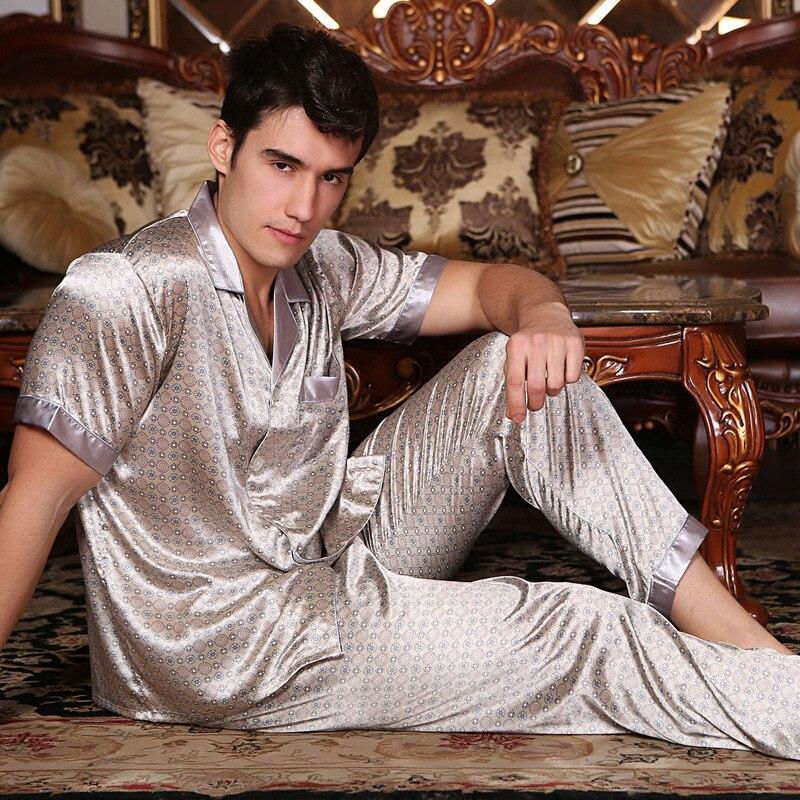 Сексуальный шелк пижама мужской весна лето с короткими рукавами одежда для сна мужская мода с принтом пижама брюки из двух частей комплекты сатин шелк пижама 278