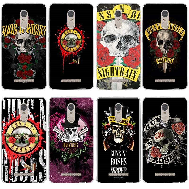 -Mi seta Guns n Roses suave TPU funda de silicona cubierta de las cajas del teléfono para xiaomi redmi mi nota 2 3 3S 4X 4A 6 5 5S 5A 6 8 A1 Pro Plus