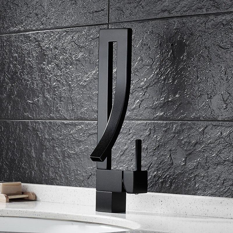 Robinets de bassin en laiton robinet carré salle de bain évier robinet mitigeur pont monté toilette chaude et froide mélangeur robinet deau S79-323