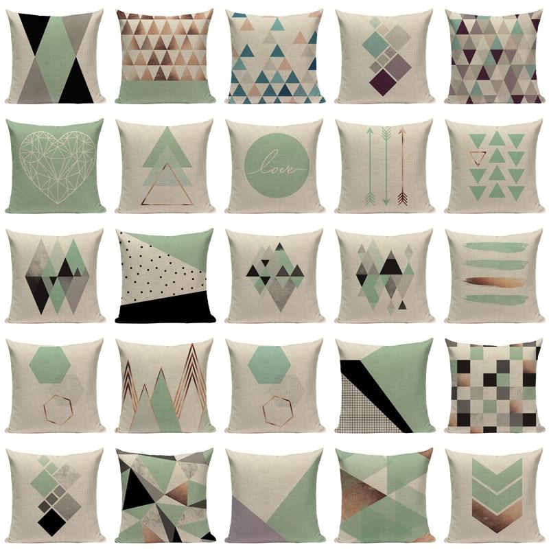 Almohada turquesa almohadas azul turquesa decorar moderno geométrico Tropical decoración verde almohada vintage Fundas de cojín