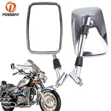 POSSBAY-miroirs de moto 10MM chromés   Miroirs arrière de café Racer pour Honda Yamaha Suzuki Harley Kawasaki rétroviseur moto