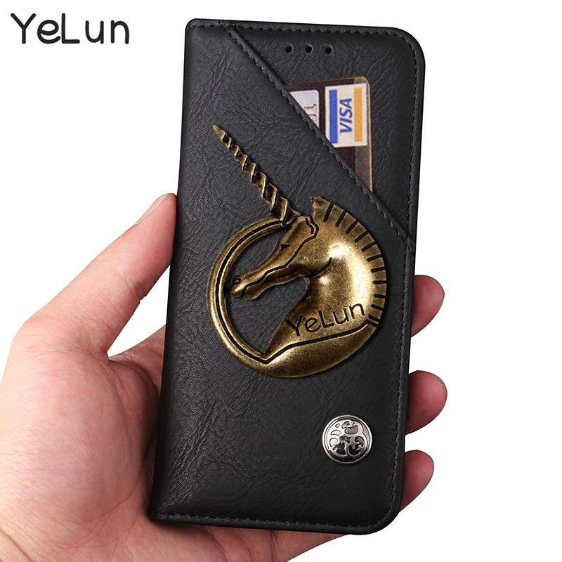 YeLun Retro para coque Vodafone Smart Platinum 7 caso de unicornio de cuero de PU Flip soporte Capa VFD900 funda de vuelta bolso de piel