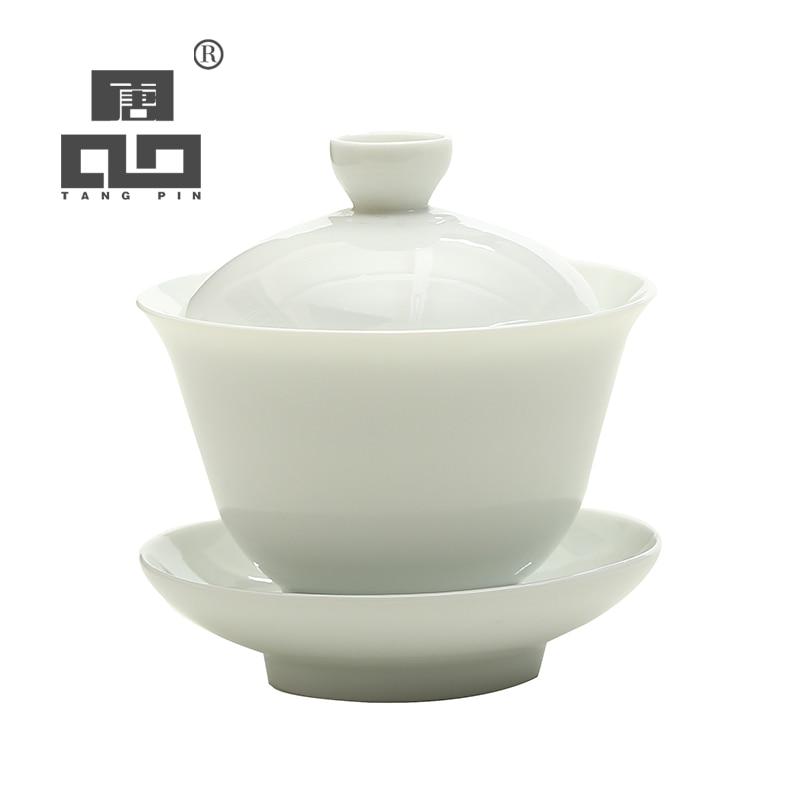 Tangpin branco cerâmica gaiwan bule de chá porcelana chinês kung fu chá conjunto