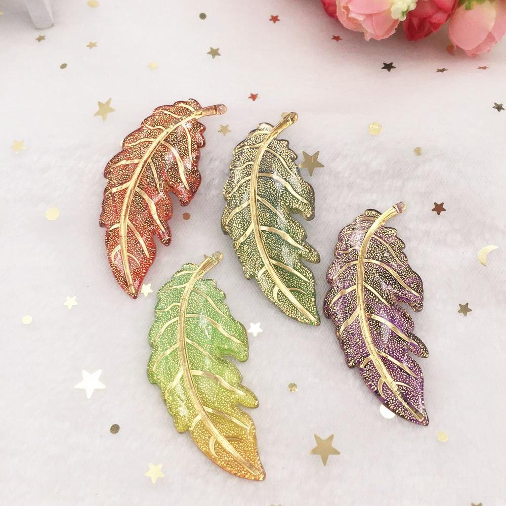 Mezcla de resina de cabujón de hojas de colores, cuentas de diamante de imitación con parte trasera plana, 6 uds., aplique DIY, colgante de 1 Agujero para boda, adorno para colgante, artesanía PF628