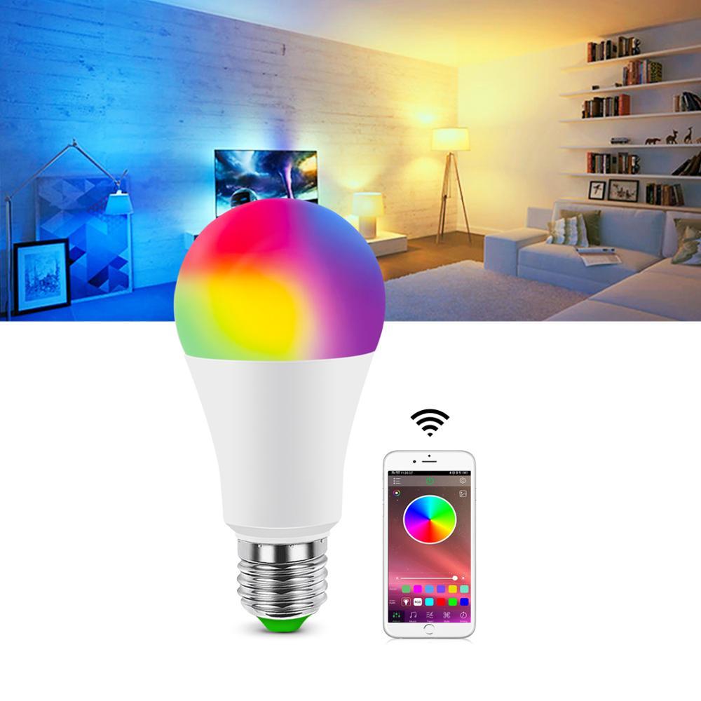 E27 неоновая лампа RGB RGBW RGBWW неоновая Светодиодная лампа 5 Вт 10 Вт 15 Вт AC85-265V неоновая вывеска с приложением Bluetooth 4,0 или ИК-пультом дистанционного управления
