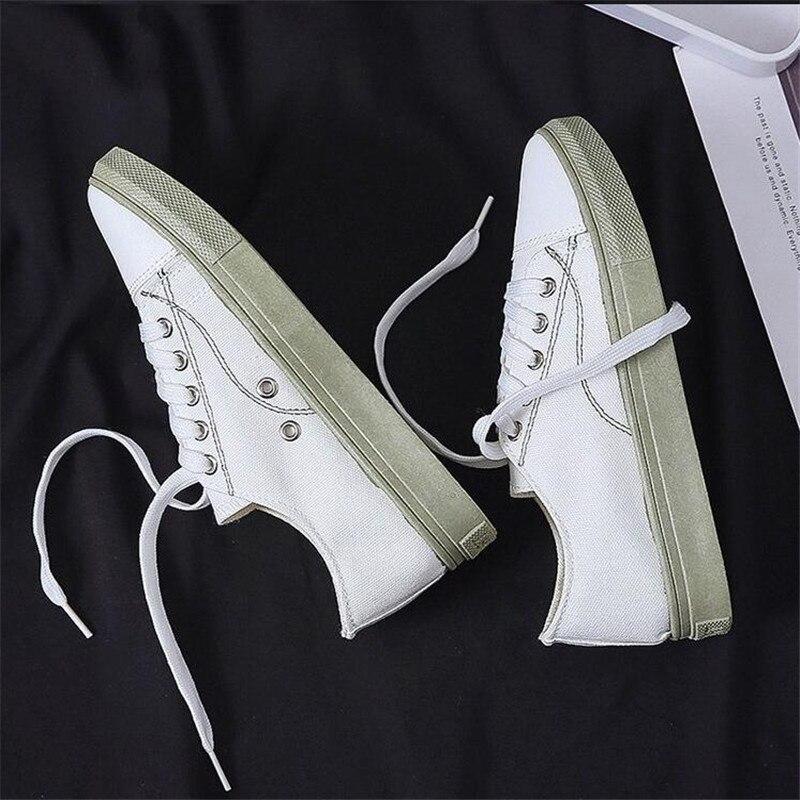 Mhysa 2019 Zapatillas de lona para mujer, zapatos de moda de Color sólido con cordones, zapatos vulcanizados de boca baja, Zapatillas para mujer L414