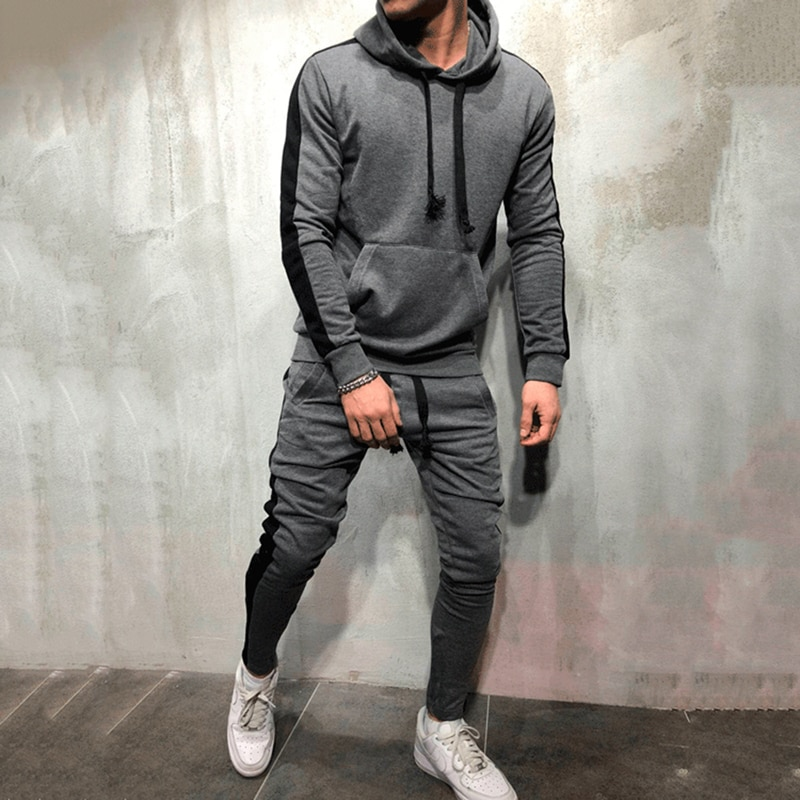 2 Pieces Sets Tracksuit Men New Brand Autumn Winter Hooded Sweatshirt +Drawstring Pants Male Stripe Patchwork Hoodies Bigsweety