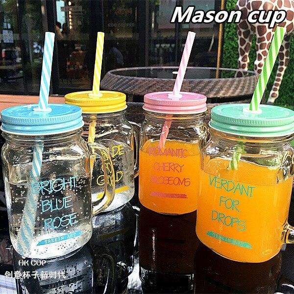 Caneca de vidro colorida do frasco de pedreiro 450ml com tampa e palha smoothie gelado frutas água potável fria frascos copo de suco