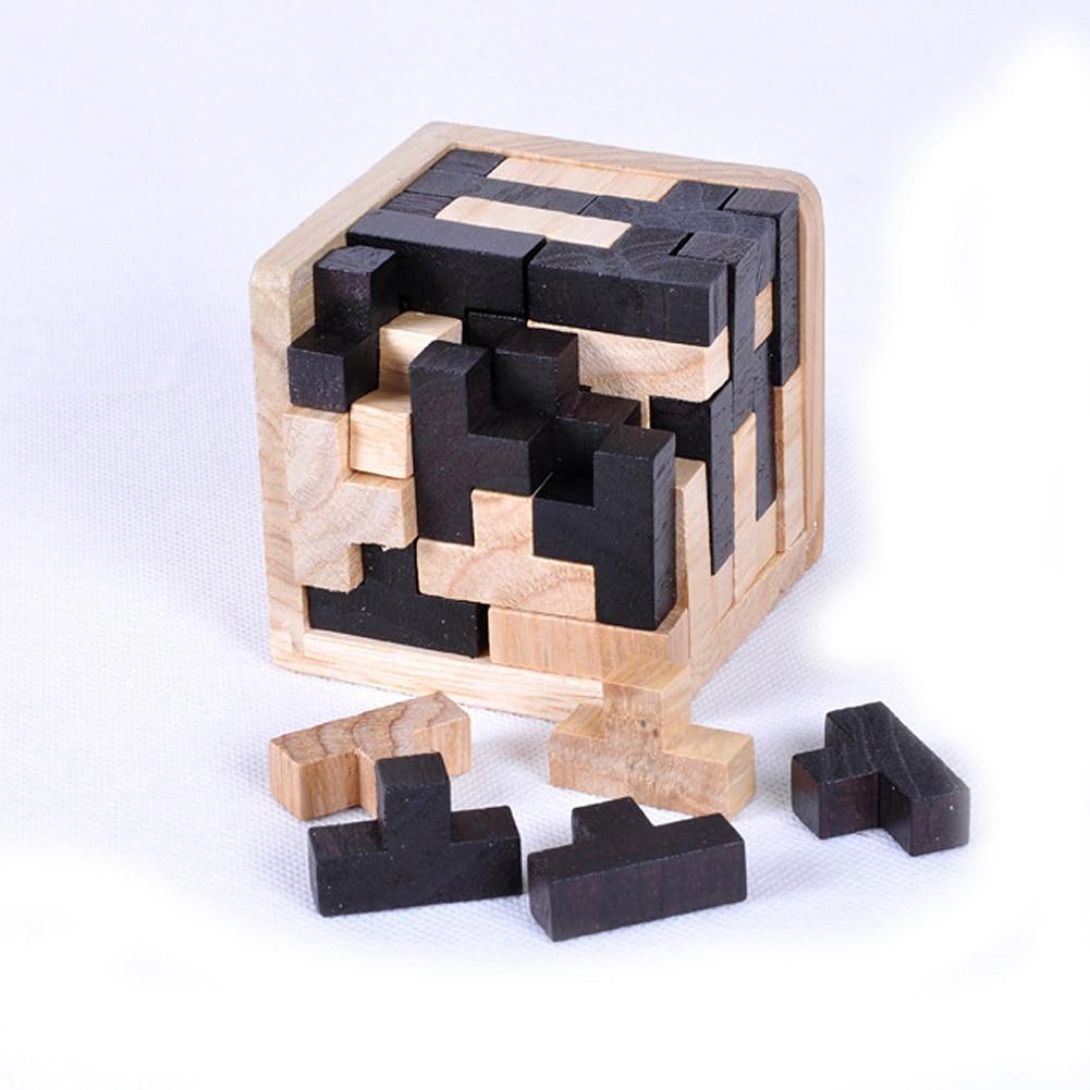 Rompecabezas Tangram Brain Training Toys Kong Ming Lock Lu ban Locks Destiny bloque de madera juguete educativo para niños y adultos