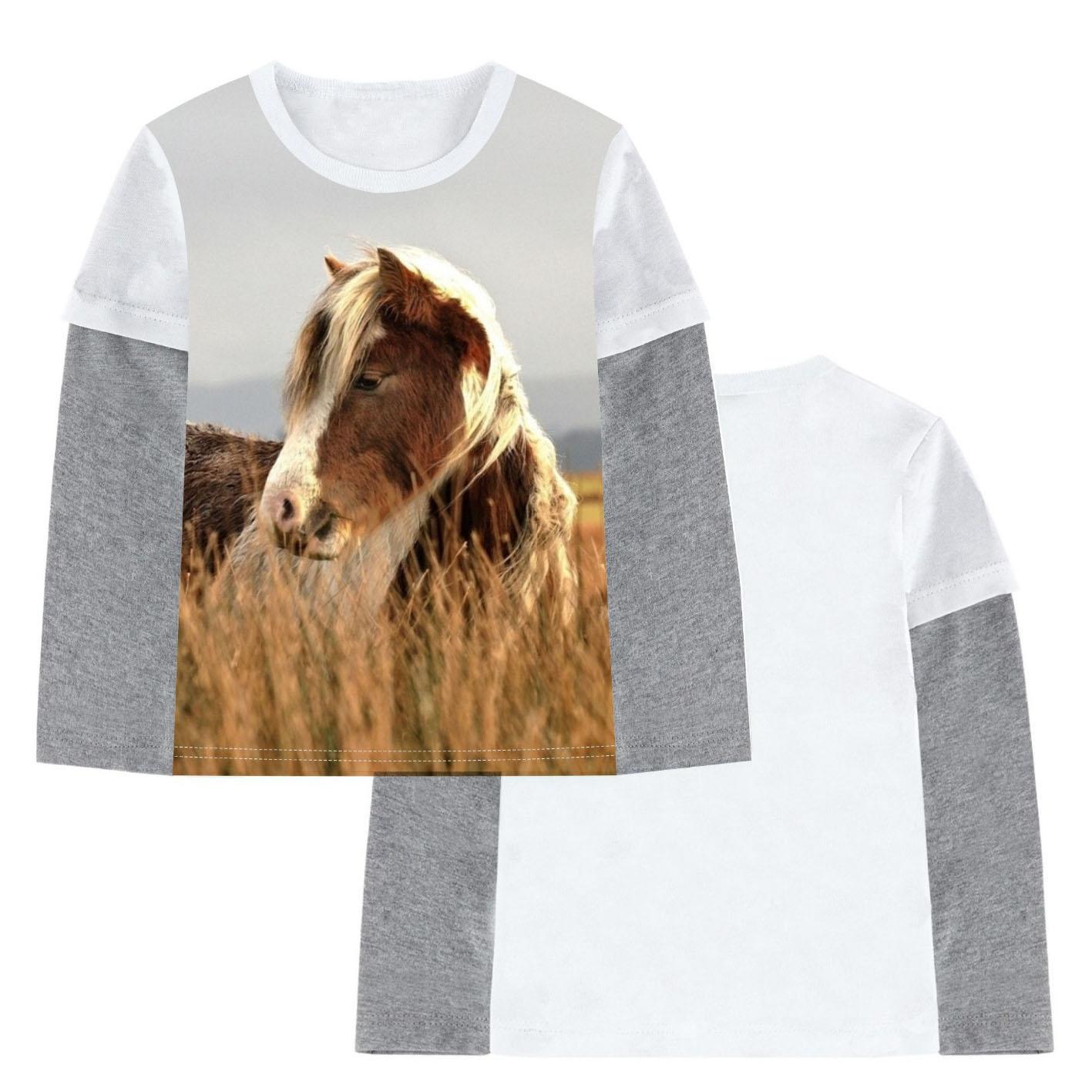 Camiseta para niños 2019, camisetas para niños, camisetas para bebés, camisetas con estampado de caballo en caña, Blusa de manga larga para niños, Camiseta de algodón