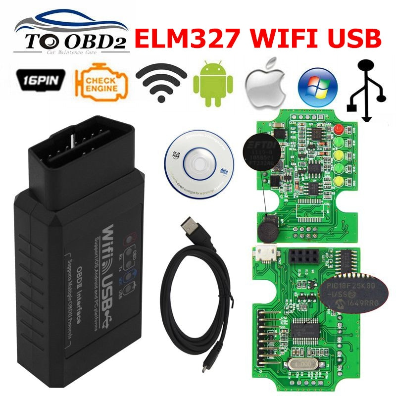 ELM327 WIFI USB V2.1 Wireless OBDII Car Scanner Works Android Torque/iOS System/Windows ELM 327 Supports All OBD2 Protocols