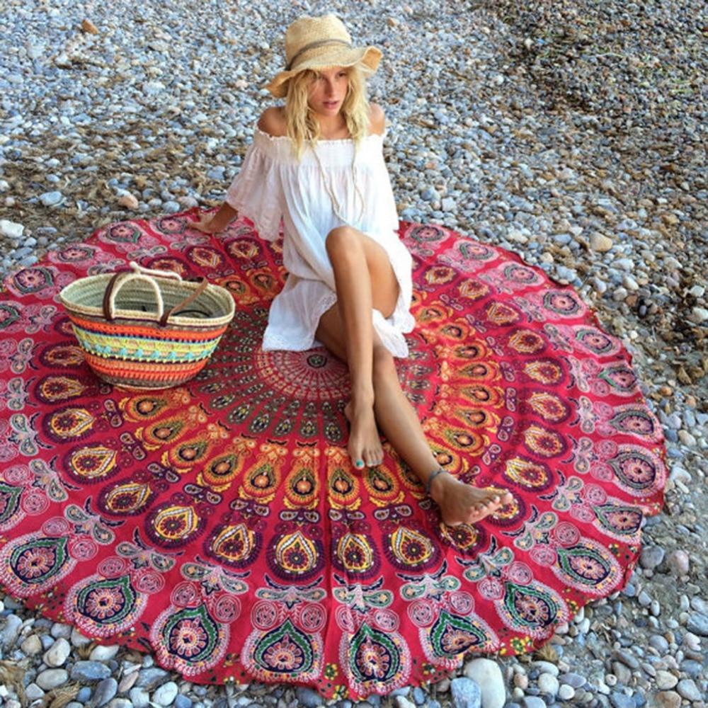 Summer Large Microfiber Printed Round Beach Towels Circle Serviette De Plage Yoga Mat Picnic Blanket Swimwear Cover Up