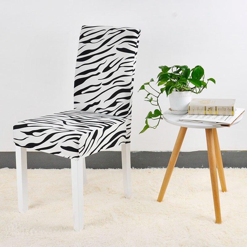 Patrón de cebra de impresión de la cubierta de la silla de comedor Protector de asiento Slipcover Stretch funda para silla de comedor decoración del hogar 1 PC