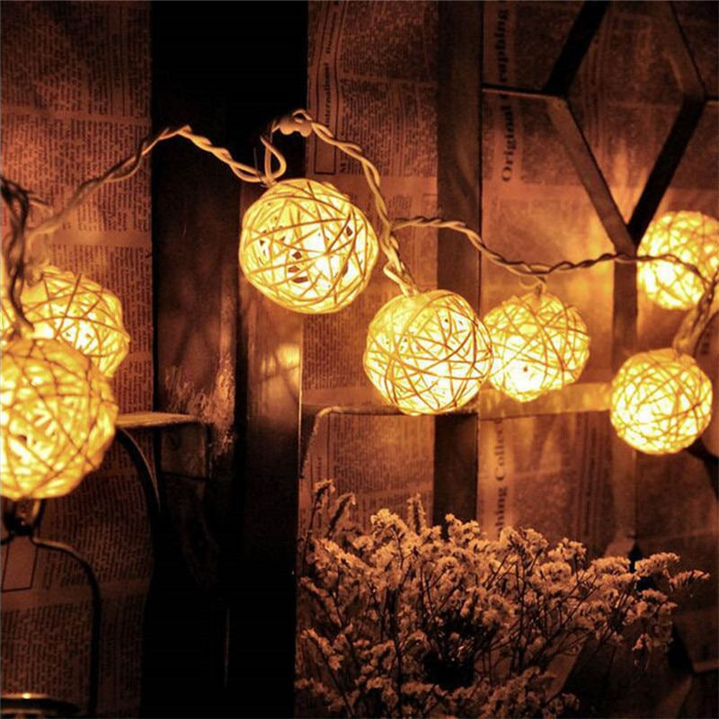 2M Rattan Ball LED String Light Warm White Fairy Holiday For Party Wedding Decoration Christmas Lights Garland