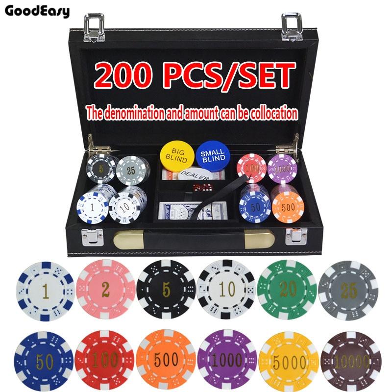 200 ~ 500 unids/set ABS dorado fichas de póquer monedas Texas Holdem juegos de póquer conjuntos de fichas con estuche de cuero 12 colores 11,5 g/pcs