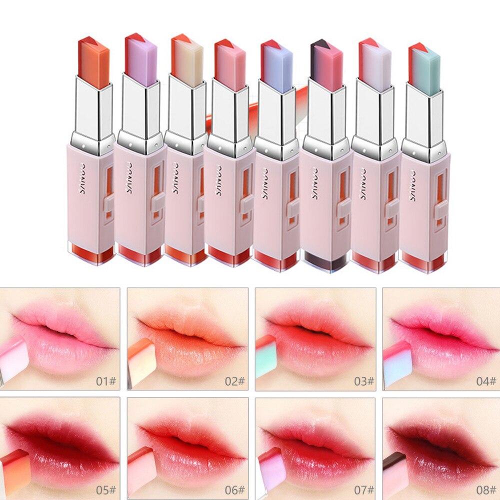 8 Colors Gradient Color Lipstick Waterproof Two Color Lipsticks Korean Style Lip Balm V Cutting Bite Lipstick K Pop Korean Lip