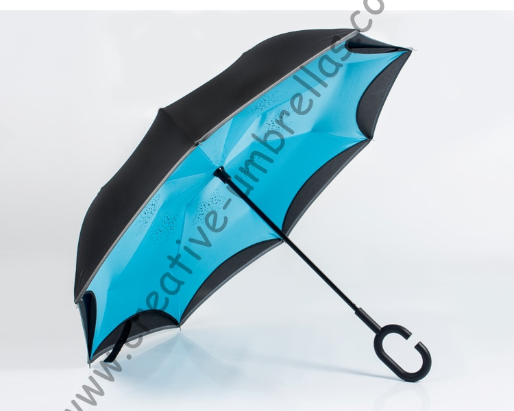 Светоотражающий неоновый ветрозащитный двухслойный зонт с крючком для самозащиты, 98 см, для 2-3 человек, с обратной стороны, без рук, автомоби...