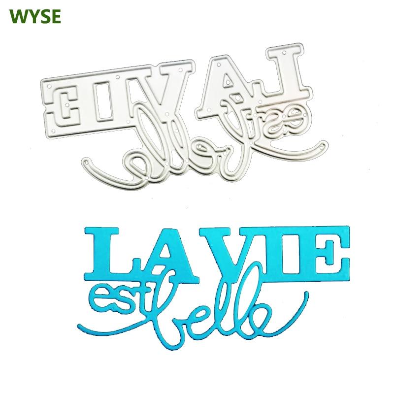 ייז מתכת חיתוך מת צרפתית מילת La vie est belle מת רעיונות מכתב למות לחתוך עבור DIY כרטיס קרפט תבנית ספקי