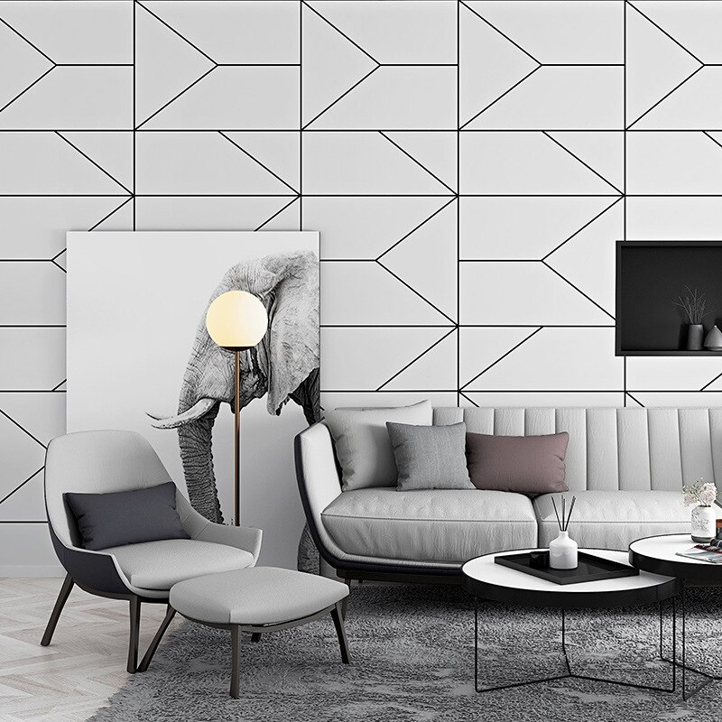 Papel pintado Estilo nórdico ins patrón geométrico línea gráfica dormitorio sala de estar moderno minimalista TV Fondo papel pintado Decoración