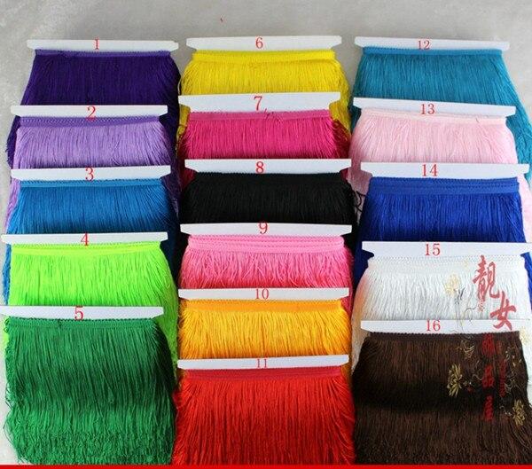 Yy-tesco 10 metros 15cm de ancho volante de flecos ming adorno de encaje con borlas y flecos para DIY vestido Latino accesorios de vestuario lazo de encaje