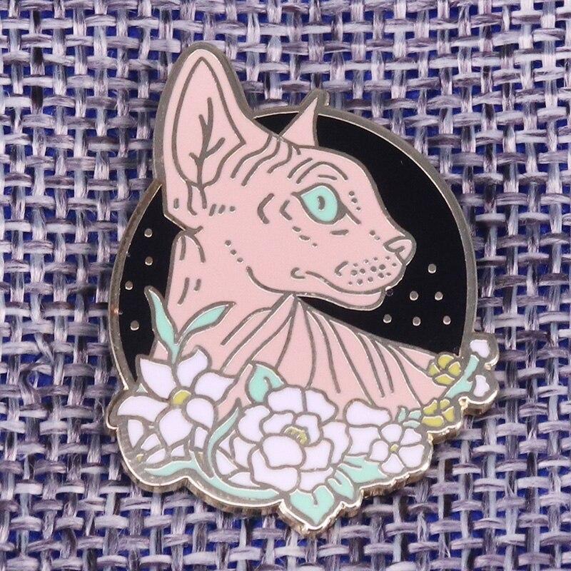 Брошь для кошек и цветов Sphynx, эмалированная заколка для кошек без волос, цветочные кнопки, знак, творческие аксессуары с животными, подарок для нее