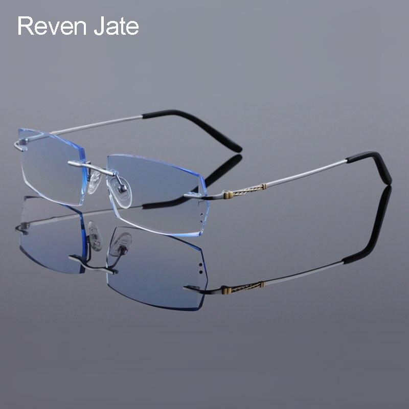 نظارات طبية Reven Jate للرجال, نظارات طبية من التيتانيوم الخالص 8036 بدون إطار لقطع الماس