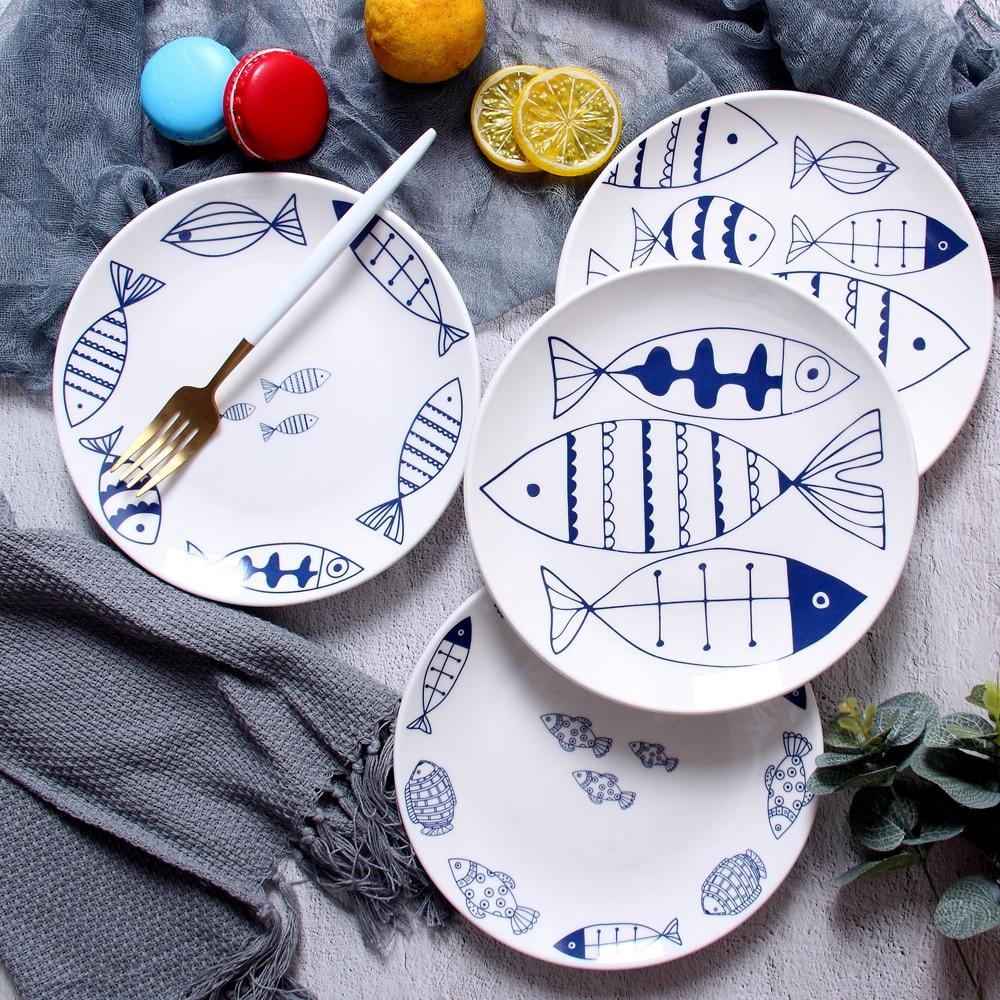 Plato de cerámica de pescado de dibujos animados de 8 pulgadas de porcelana redonda nórdica glaseado plato de cena occidental pastel de carne bandeja de postre plato de aperitivos