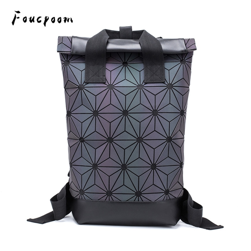2021 Fashion Backpacks Women Luminous Geometric Backpack Large Men Laptop School Backpack Shoulder Travel Holographic Backpack