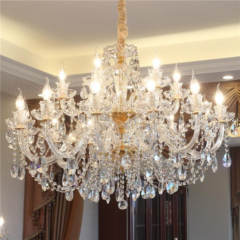 الذهب كريستال الثريا غرفة الطعام البوهيمي كريستال الثريا لغرفة المعيشة ديكور تركيبات إضاءة معلقة الثريات