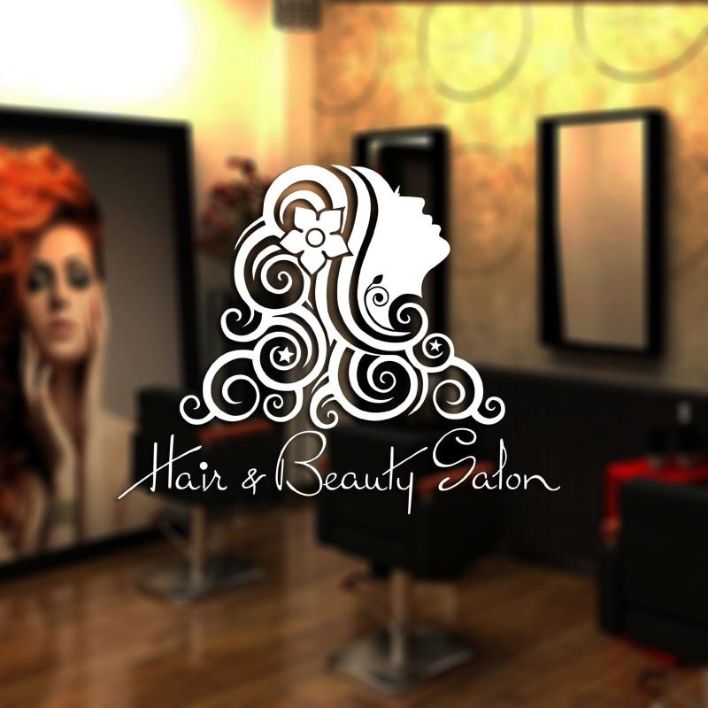 Adhesivo de salón de belleza chica sexy calcomanía carteles de corte de pelo vinilos decorativos de pared decoración de ventanas Mural M0011