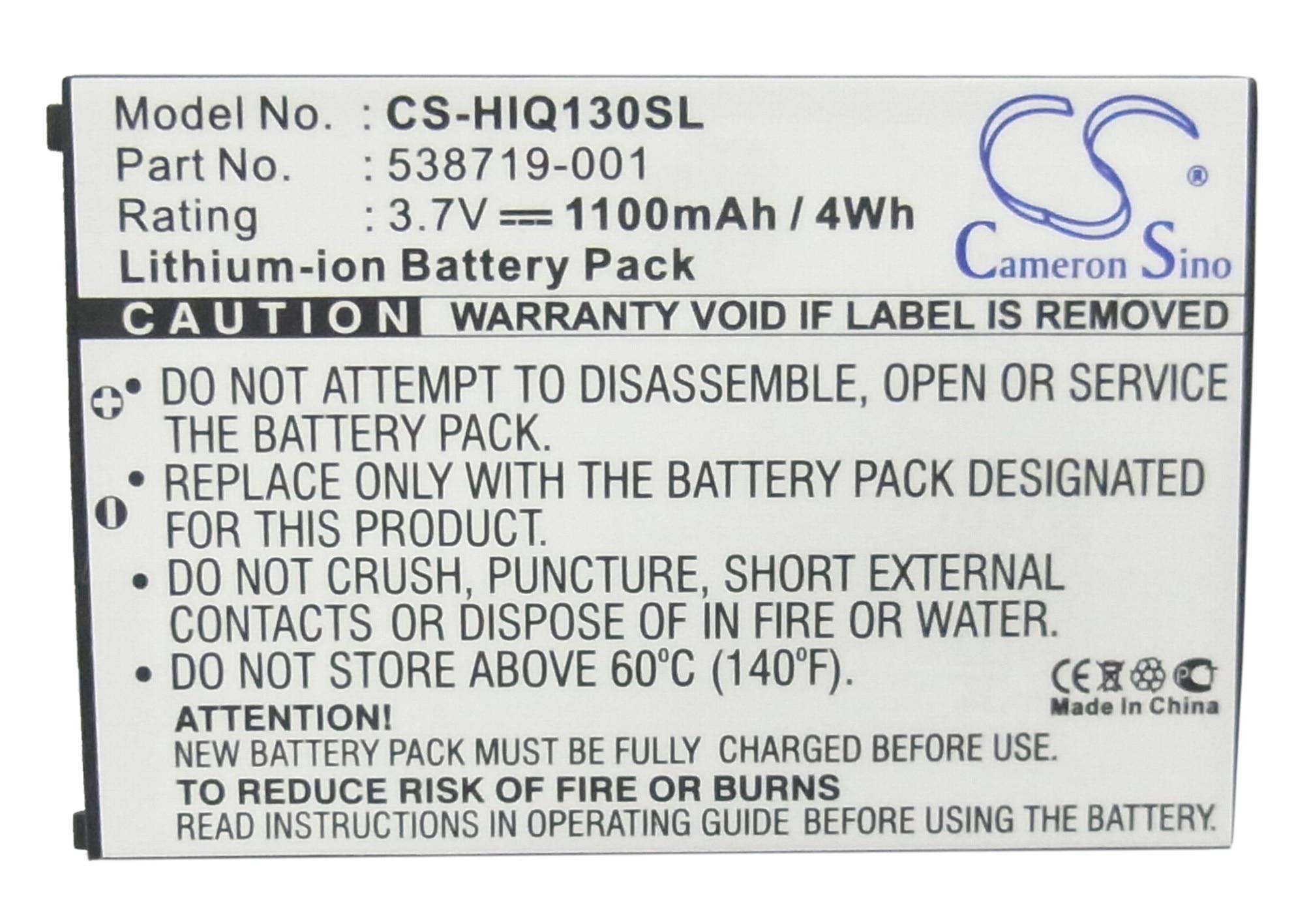 Cameron Sino 1100mAh Battery 538719-001, 538722-001, HSTNH-T21C-S for HP Glisten K3, iPAQ Glisten, iPAQ K3, K3