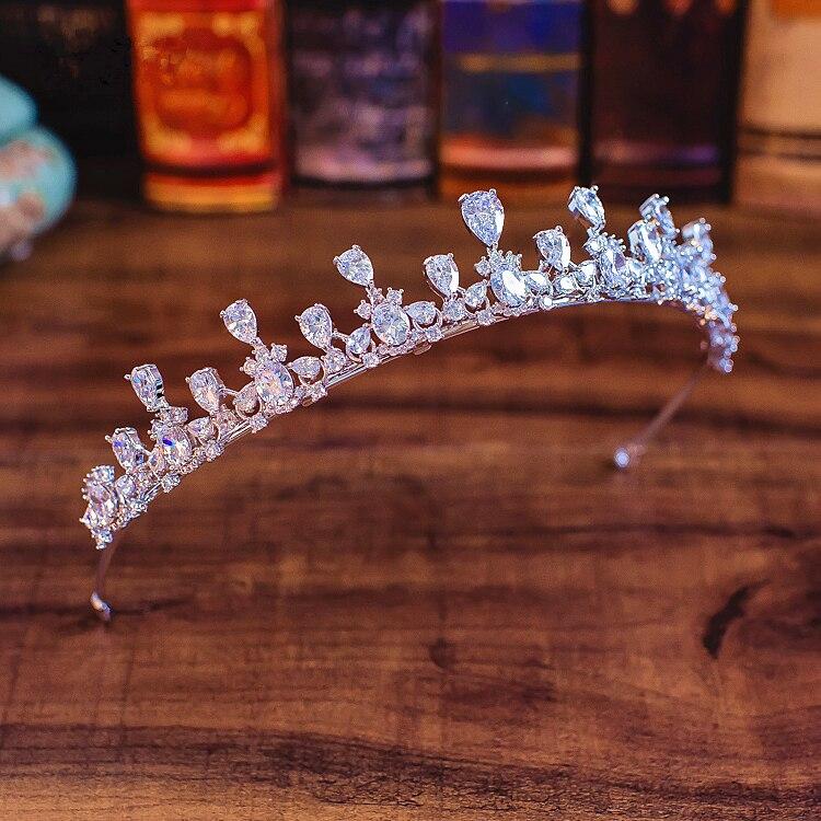 Tiara completa CZ, corona De circonita cúbica para Novia, Diadema, accesorios para...