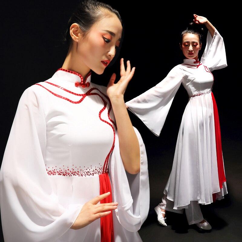 5 ألوان من ملابس الرقص الصينية الكلاسيكية للنساء أزياء هانفو القديمة مروحة شعرية خيالية/مظلة ملابس الرقص أداء المسرح