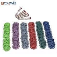 60 pces dremel acessórios de cerda radial escova abrasiva polimento roda misturada grit + 6 pces mandril para ferramentas giratórias