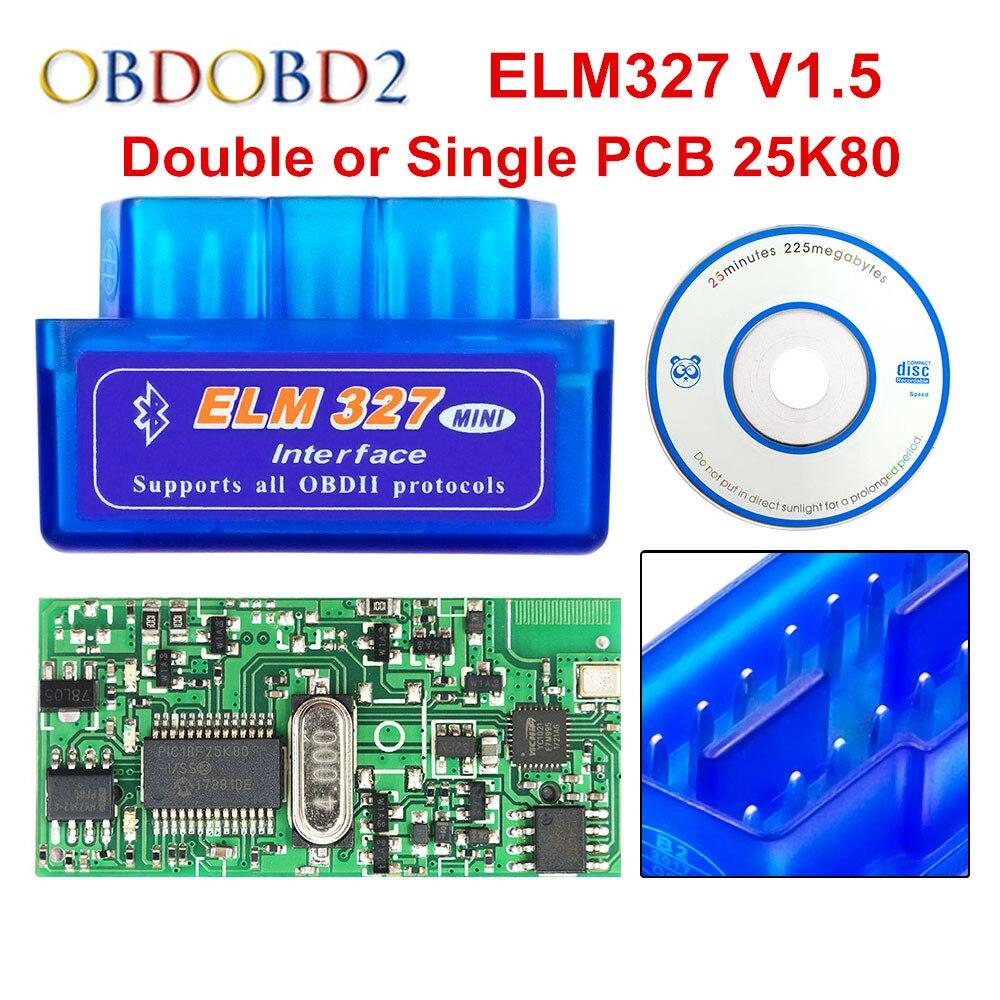 Super Mini ELM 327 Bluetooth V1.5 PIC18F25K80 Mini ELM327 1,5 OBD2 herramienta de diagnóstico del coche soporte J1850 protocolos envío gratis