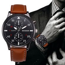 Retro Design Leather Band Male Watches Men Top Brand 2020 Mens Sports Clock Analog Wrist Watches Rel