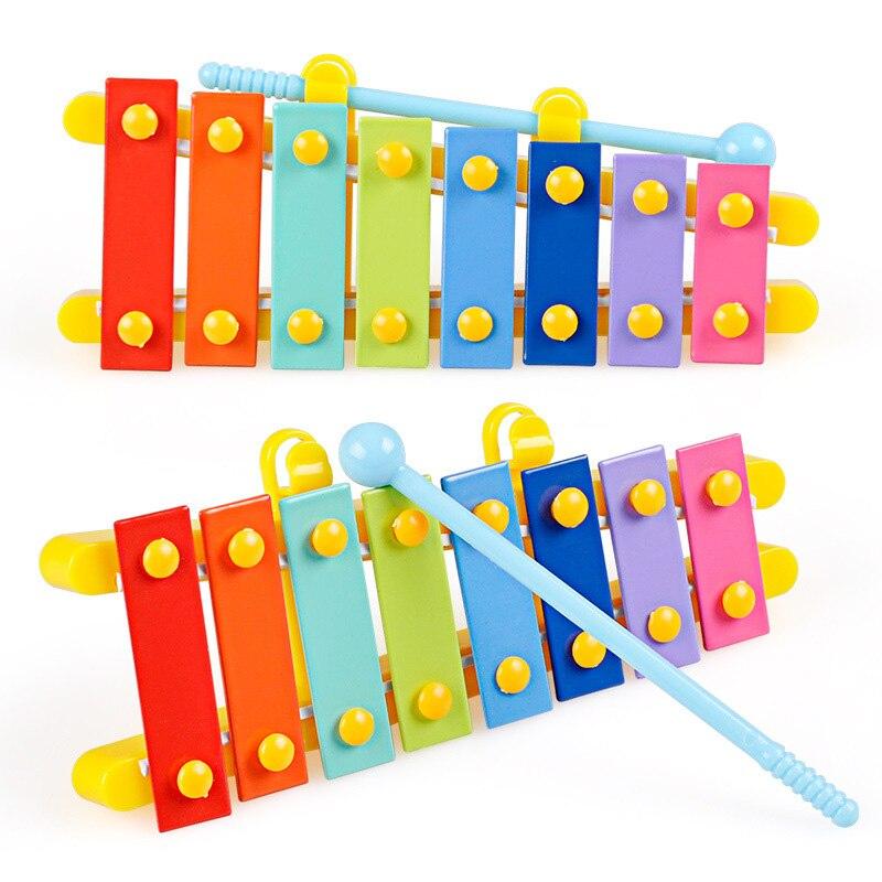 Brinquedo educacional 8 escalas xilofone para crianças bebê música instrumento brinquedos com martelo oito octavas guitarra forma garrafa