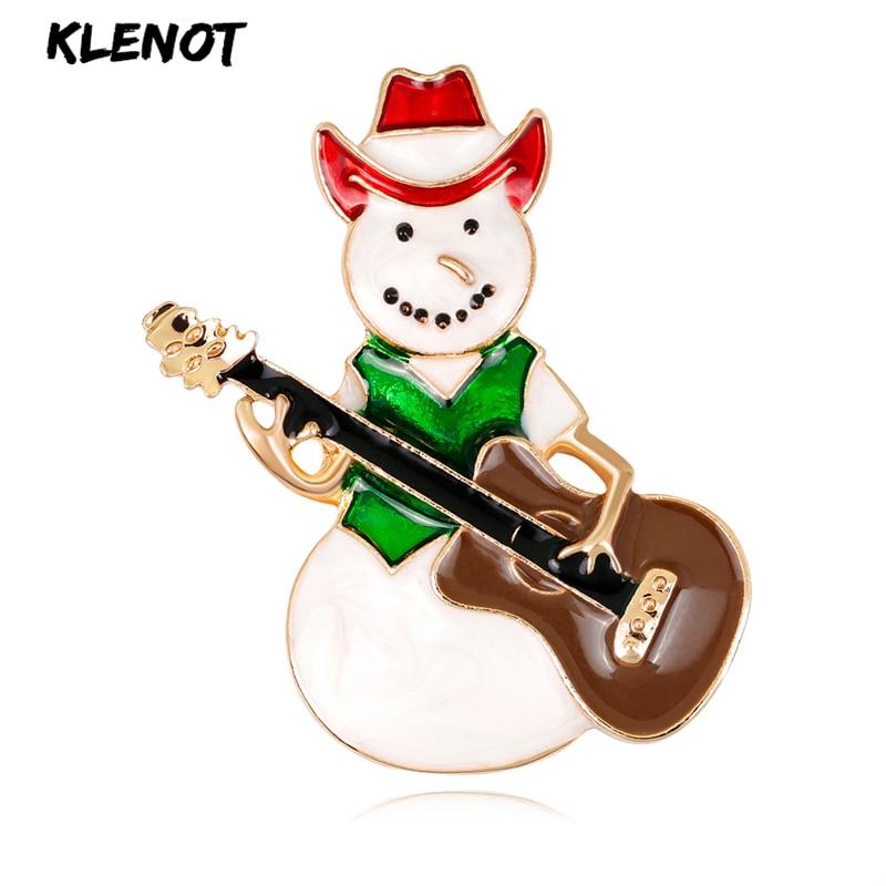 Elegante boneco de neve guitarra papai noel broches esmalte pinos para colar lapela cristal broche para festa feminino jóias presentes de natal
