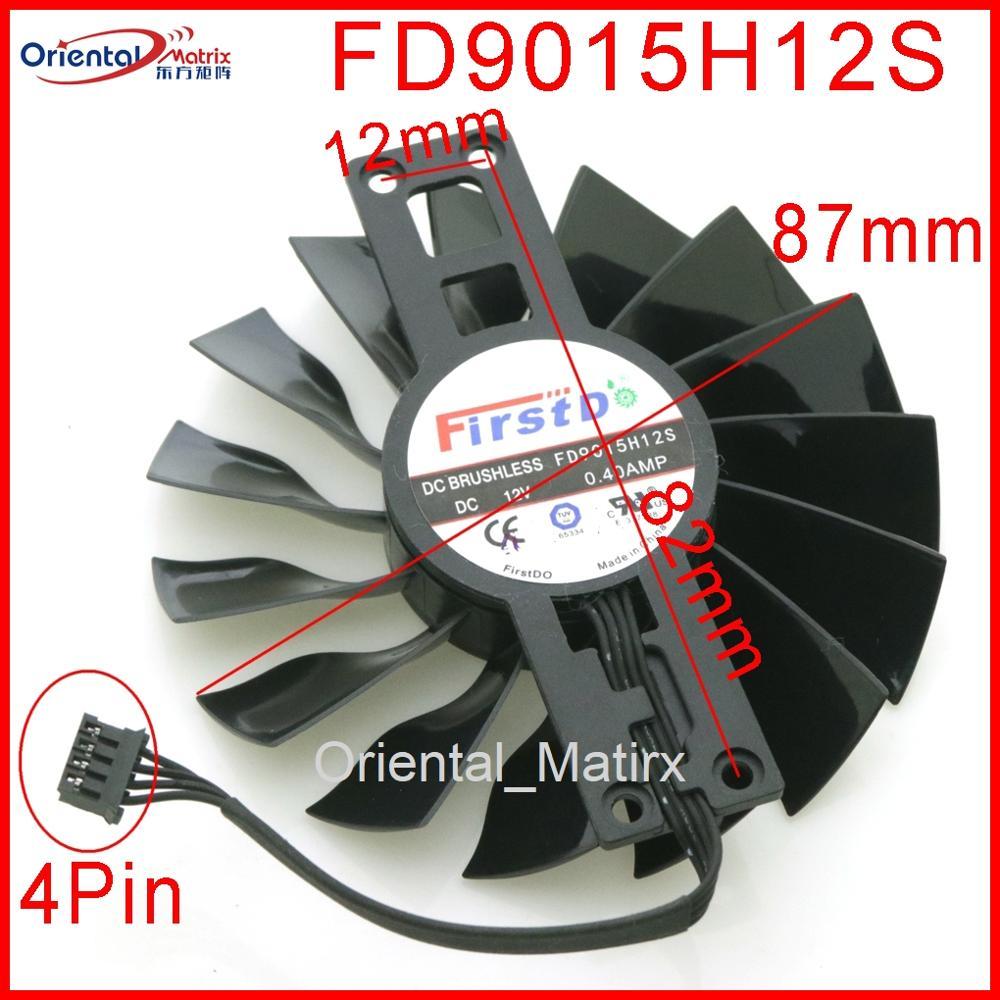 مروحة FD9015H12S 12 فولت 0.40A 87 ملم, مروحة VGA جديدة FD9015H12S 12 فولت 0.40A 87 مللي متر للرسومات gainمفيدة GTX950/بطاقة الفيديو مروحة تبريد 4 أسلاك 4Pin