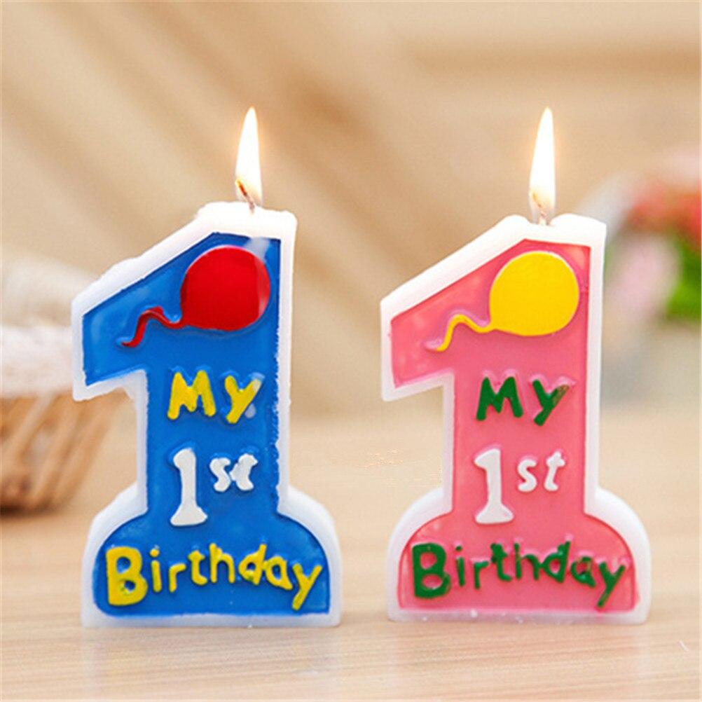 1 Pcs 1st Velas de Aniversário Cor De Rosa ou Azul chapéus de Coco Do Bolo Do Bebê Crianças Bebê Chuveiro Partido Feliz Aniversário Do Bebê Decoração Do Partido DIY