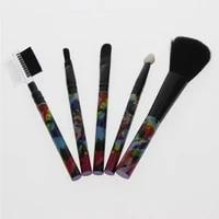 5pcs colorful handle make up brush kit include blush brush 2 brushes for eyelid sponge applicator eyebrow brush and eyelash comb