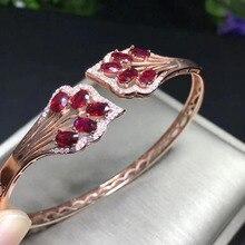 Brazaletes de rubí rojo Natural abanico de flores de moda brazaletes de piedras preciosas naturales S925 pulsera de plata mujer chica joyería de regalo para aniversario