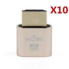 XT-XINTE 10 pièces affichage virtuel adaptateur HDMI 1.4 DDC EDID prise factice sans tête fantôme affichage émulateur carte vidéo plaque de verrouillage
