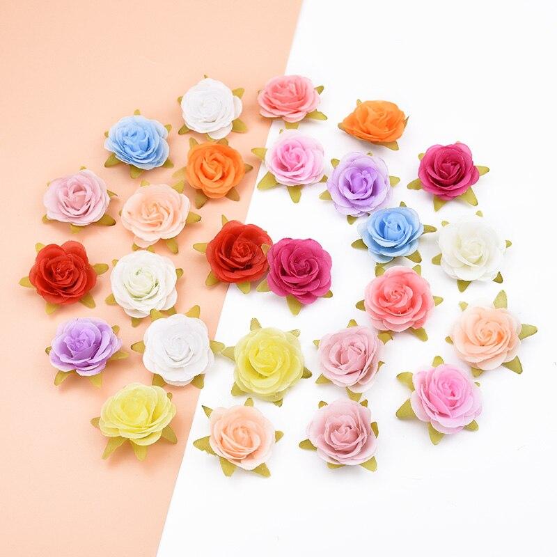 6 uds accesorios de la boda de navidad decoración rosas de seda flor decorativa diy guirnalda artificial flores