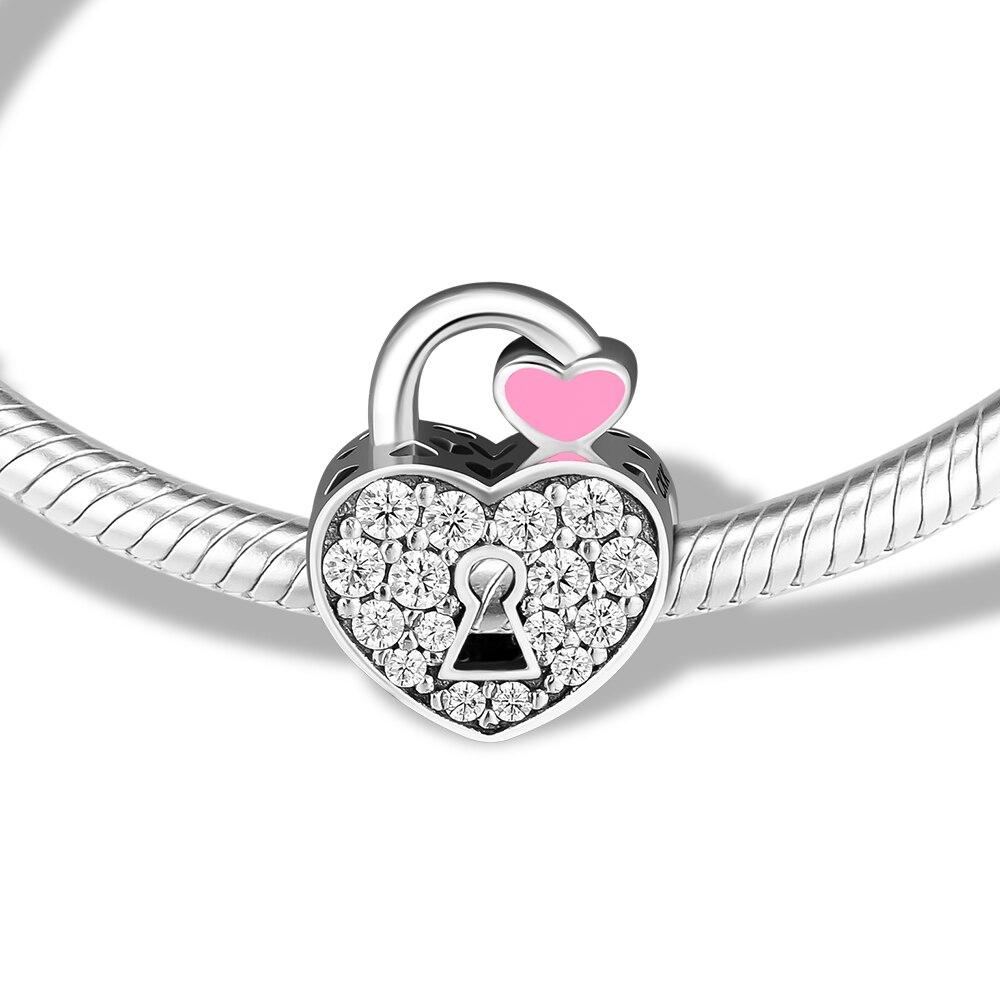 Se adapta a pulseras Pandora Charms candado cuentas pavé 100% Plata de Ley 925 joyería envío gratis