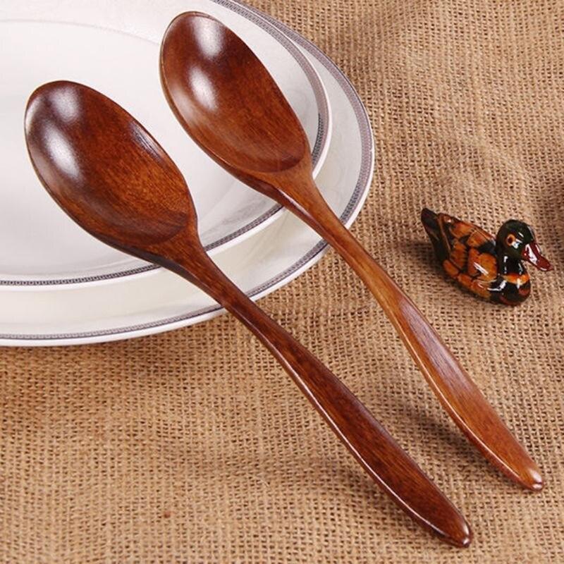 18 Cm madera Natural de alta calidad cuchara (1 pieza) respetuoso del medio ambiente vajilla de comedor sopa de miel de té café cucharillas accesorios de cocina
