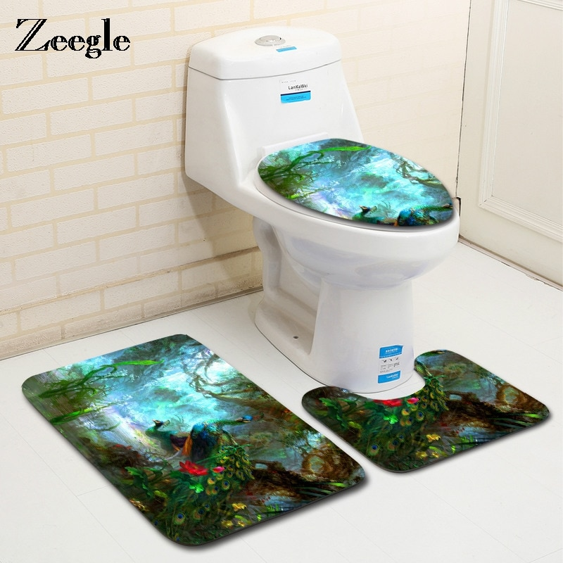 Zeegle Peacock Pattern 3Pcs Bathroom Mats Carpets Set Absorbent Toilet Rugs Lid Cover Microfiber Floor Mats Bathroom Decoration